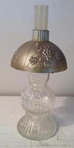 Vintage Glass Candy Container Hurricane Lamp with Embossed Plastic Shade