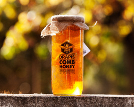 DrApis Comb Honey 1500g (1.5 Kg, 3.3 lb) pot jar, honeycomb honig from P... - $31.17