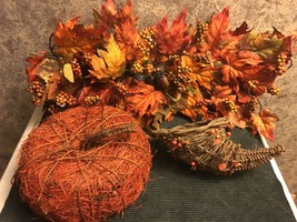 Fall Thanksgiving home decor lot pumpkin cornucorpia rustic farm house n... - $23.94