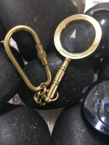 Antique Style Magnifying Glass Nautical Brass Magnifier Key Chain Key Ring Gift