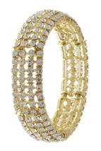 Rhinestone Crystal Stretch Bracelet, Clear Crystal Bracelet, Four Strand Crystal - $14.99