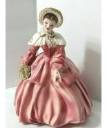 Florence Ceramics Lady Figurine ABIGAIL Rose Pink White Gold Trim Design... - $47.47