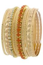 Orange Pavé Multi Gold Bangle Set, 12 Bangle Bracelets, Rhinestone Textured