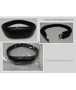 16GB USB 2.0 Memory Stick Flash Pen Drive Black Wristband Bracelet NWT - $10.50
