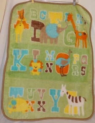 Bean Sprout Baby Blanket Green Alphabet Animals Boy Girl BeanSprout
