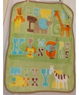Bean Sprout Baby Blanket Green Alphabet Animals Boy Girl BeanSprout - $11.34