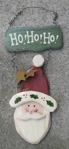 1234HONB - Ho HO HO  Wood Hanging Santa Sign - $5.95
