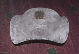 Large Murano  Folded Corners Satin Bowl with Cherub Angel. - $29.21