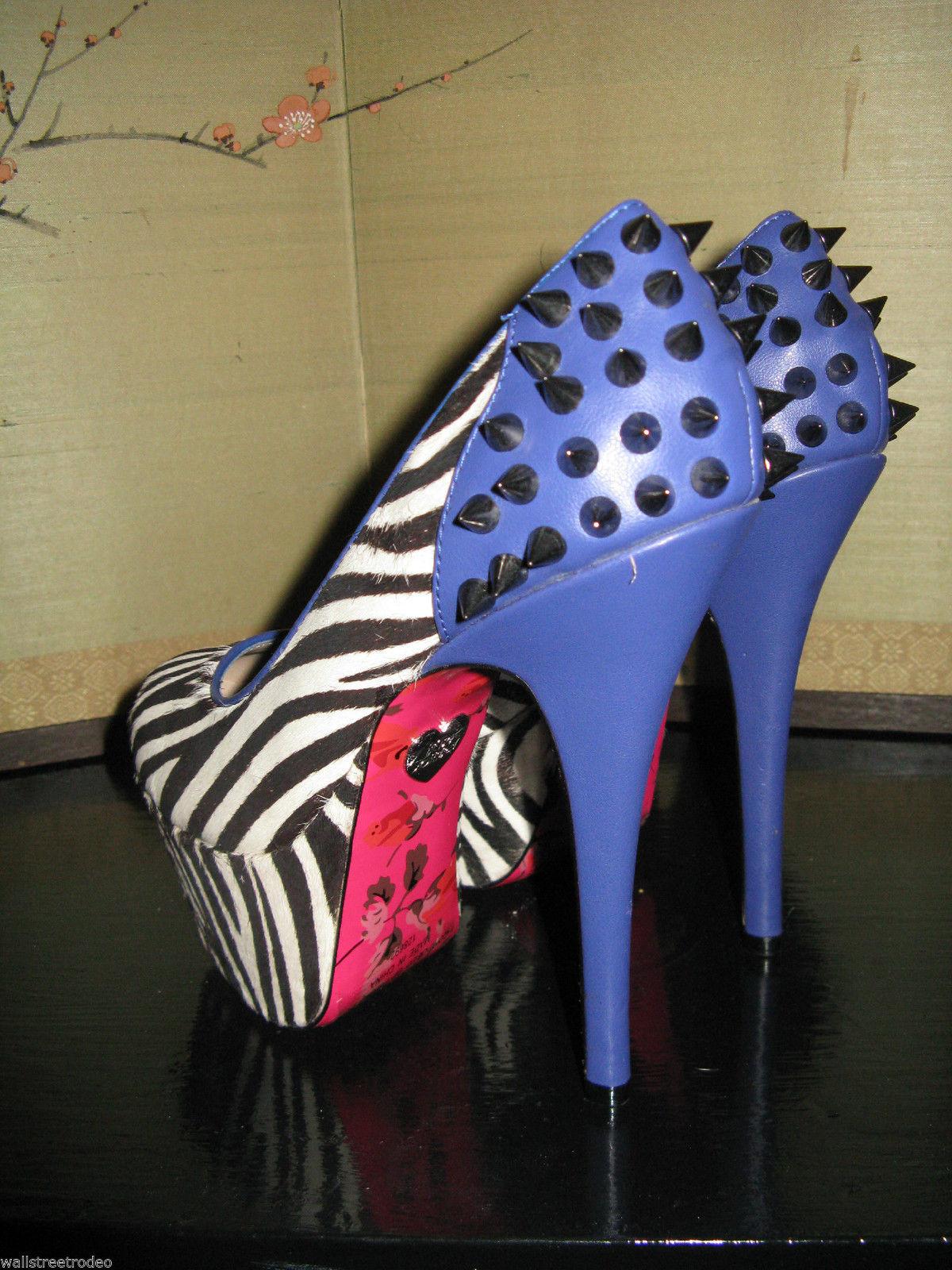 Betsey Johnson Grace zebra heel stiletto platform pin-up rockabilly 6.5 uk4 VLV