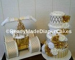 Set of 2 Gold and Ivory Themed Baby Shower Decor Diaper Cake Centerpiece Gifts - $125.18 CAD