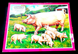 Vintage wooden PIG AND PIGLETS Jigsaw Puzzle (50 pieces) By Victory COMP... - $19.58