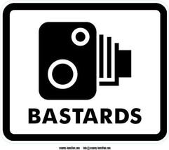 Bastards Traffic Camera shaped vinyl sticker 15x13cm traffic sign speed ... - $3.52