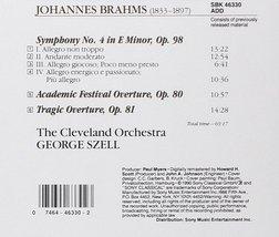 Brahms: Symphony 4 / Academic Festival Overture / Tragic Overture Cd image 2