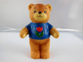 "1980 ENESCO PORCELAIN LUCY AND ME RIGGLETS TEDDY BEAR 3"" TALL blue shirt... - $5.88"