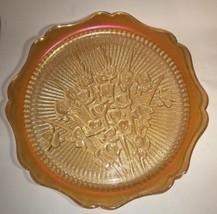 """Vtg Jeannette Glass Iris Herringbone Iridescent Marigold Carnival 12"""" Platter  - $19.80"""