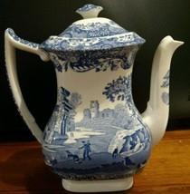 "Spode ITALIAN (CAMILLA) Coffee Pot CLEAN Old Blue Mark 7.5"" tall - $210.38"