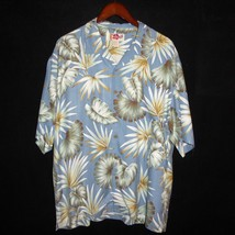 Large (L)  100% Silk HILO HATTIE Mens Short Sleeve Blue Hawaiian Shirt - $21.73