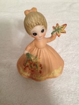 "1974 George Good Corp  3"" ceramic girl with flowers figure  - $6.35"