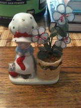 Jasco 1978 collectible figuirine busy grandma and cat next to flower pot  - $6.80