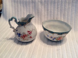 Japanese blue and white mini floral pitcher and... - $7.70