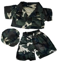 """Army """"Green"""" w/Cap Outfit Teddy Bear Clothes Fits Most 14"""" - 18"""" Build-A... - $12.86"""