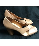 BCBG MAXAZRIA SHOES  Leather sand Wood Heel Size: 9/39 - $28.04