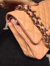 AUTHENTIC Chanel Pink Quilted Patent Leather Medium Double Flap Bag SHW image 3
