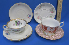 Mixed Lot 2 Tea Cups 5 Saucers Floral China Haas Czjzek Fred Roberts Limoges - $19.79
