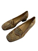 Easy Spirit Womens Shoes Size 8 B/2A Narrow Heel Brown Paisley Loafers Flats - $24.75