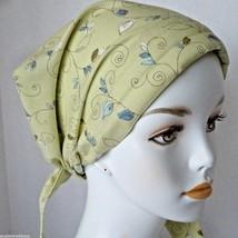 Green Floral Cancer Chemo Hair Head Wrap Bad Hair Day Alopecia Scarf Hat Turban  - $16.95
