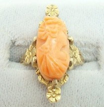 Art Nouveau Oval Genuine Natural Coral Cameo Ring (#2227) - $277.88
