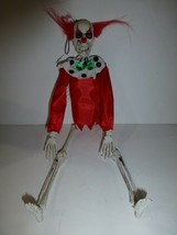Halloween Poseable Plastic Hanging Skeleton Clown Red Hair Decoration Ne... - $12.86