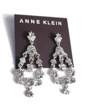 New Anne Klein Silver Crystal Chandelier Dangle Drop Earrings Elegant Sp... - $13.47