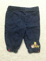 Disney Baby Baby Girl Embroidered Winnie The Pooh Blue Denim Jeans 0-3 M... - $9.89
