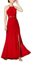 NIGHTWAY WOMEN'S RED STRAPPY BEADED A-LINE HALTER GOWN FORMAL DRESS SIZE... - $49.49