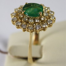 18K YELLOW GOLD 750 RING WITH DIAMONDS AND GREEN EMERALD, FLOWER MADE IN ITALY image 2