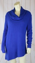 Vince Camuto Sweater S Royal Blue Cotton Acrylic Stretch Knit Pullover Cowl - $48.51