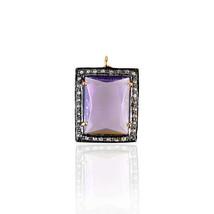 Amethyst Gemstone Charm Pendant Sterling Silver Diamond Pave Handmade Je... - $120.30
