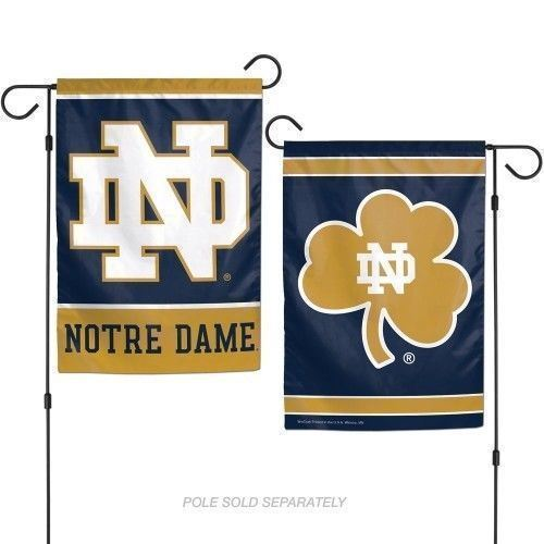 "NOTRE DAME FIGHTIN IRISH TEAM GARDEN WALL FLAG BANNER 12"" X 18"" 2 SIDED NCAA"