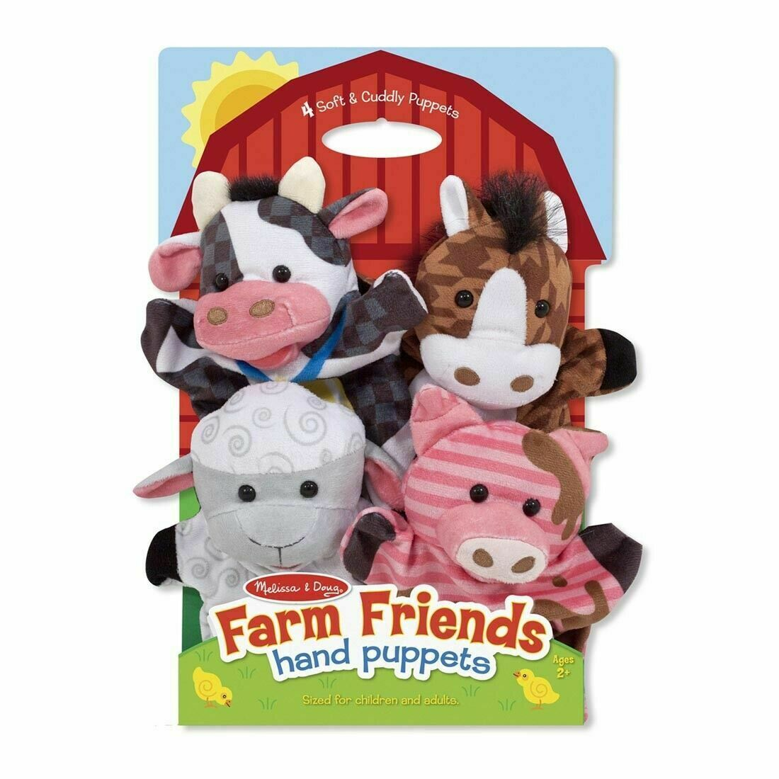 Primary image for Melissa & Doug Farm Friends Hand Puppets Ages 2+ Soft and Cuddly Plush Animals