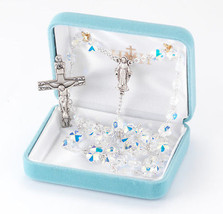All Sterling Silver Rosary made with Aurora Flower Petal Swarovski Crystals - $271.32