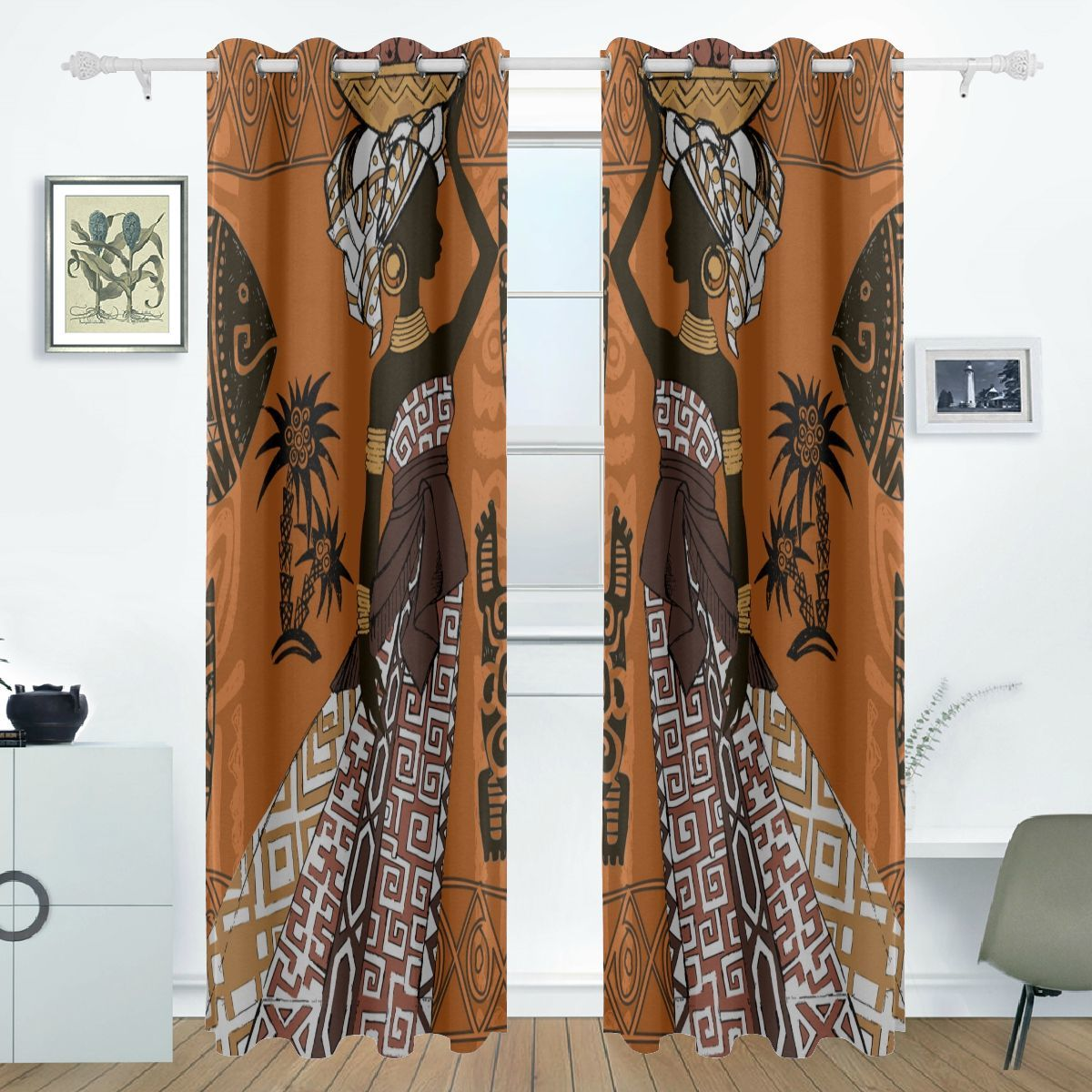 Kids Curtains Bedroom African Woman Tribal Ethnic Print