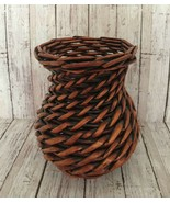 Wicker Diagonal Hand Woven Decorative Rattan Vase Rustic Country Primitive - $25.46