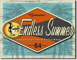 Endless Summer Genuine Surfing Wave Metal Sign Tin New Vintage Style USA... - $10.29