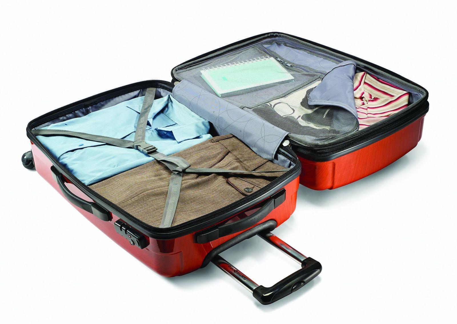 """28"""" Expandable Spinner Luggage Polycarbonate Rolling Suitcase TSA Lock Orange"""
