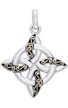 Jewelry Trends Sterling Silver and Gold-Plated Celtic Quaternary Knot Pe... - $43.99