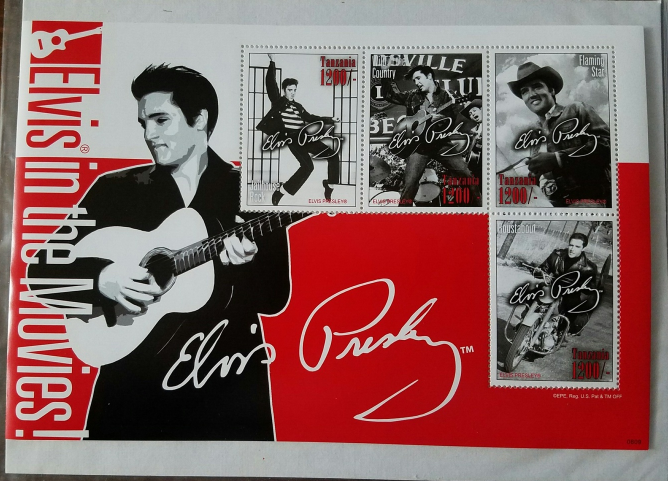 Elvis in the Movies Tanzania Mint  Stamp Sheet of 4 2008