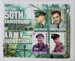 50th Anniversary of Elvis' Army Induction Mint  Stamp Sheet of 4 2008 - $7.95