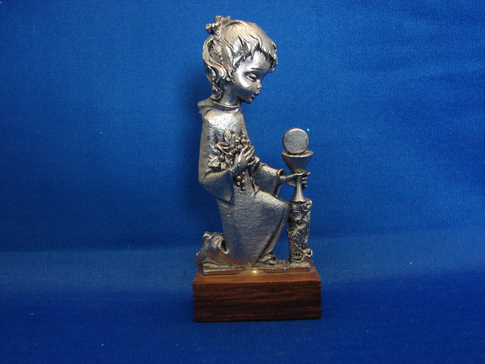 Peltro Pewter Figurine Little Girl Wood Base and 11 similar