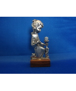 "Peltro Pewter Figurine Little Girl Wood Base Italy Cesellato A Mano 3.5"" - $4.29"
